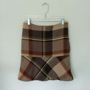 Talbot plaid wool skirt